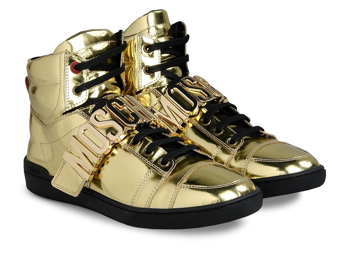 sneaker spotter kcee on moschino gold high tops. Black Bedroom Furniture Sets. Home Design Ideas